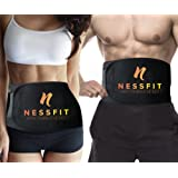 NESSFIT ® Waist Trimmer Belt For Men & Women for Weight Loss - Fully Adjustable Slimming Sauna Ab Belt Neoprene - Provides Best Support For Lower Back & Lumbar