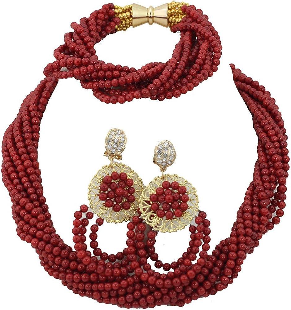 AfricanBeads rojo Coral perlas joyas conjunto mujer joyas pulsera pendientes de regalo de Navidad