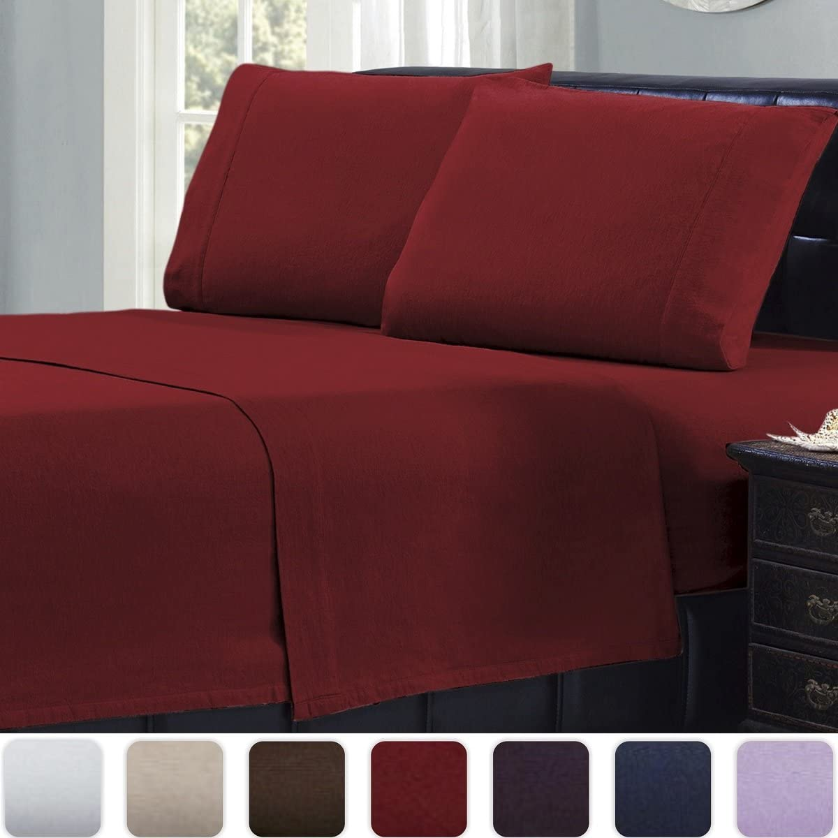 All Around Elastic Warm Lightweight Bed Sheets Twin, Burgundy Soft Mellanni Twin Flannel Sheet Set Deep Pockets 3 pc Luxury 100/% Cotton Breathable Bedding Cozy