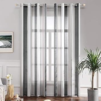 Miulee Lot De 2 Décorative Rideaux Voilage Imprimes Fenêtre Design