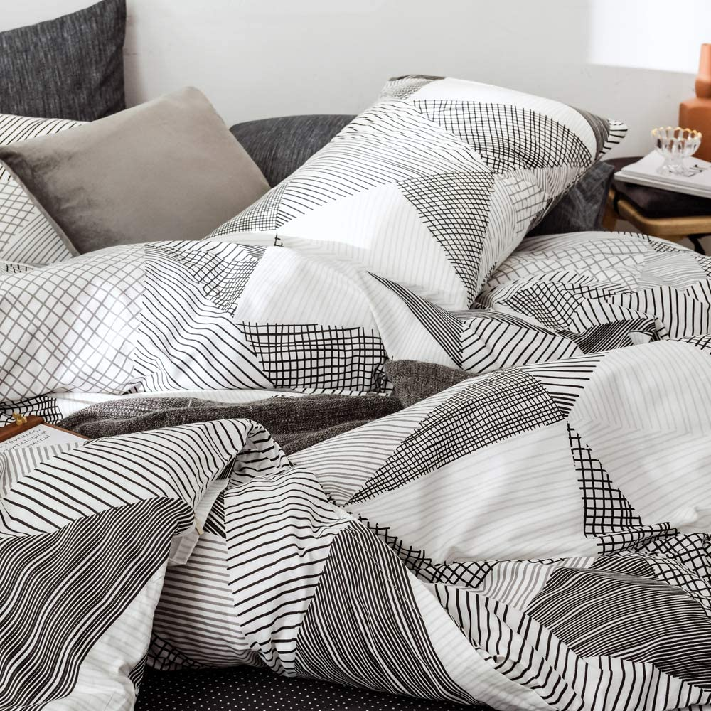 3 Pieces Plaid Duvet Cover Queen Soft Natural Cotton Queen Bedding Sets for Boys Girls Abstract Bedding Comforter Cover Full Queen Yellow White Grids Geometric Bedding Duvet Cover Sets