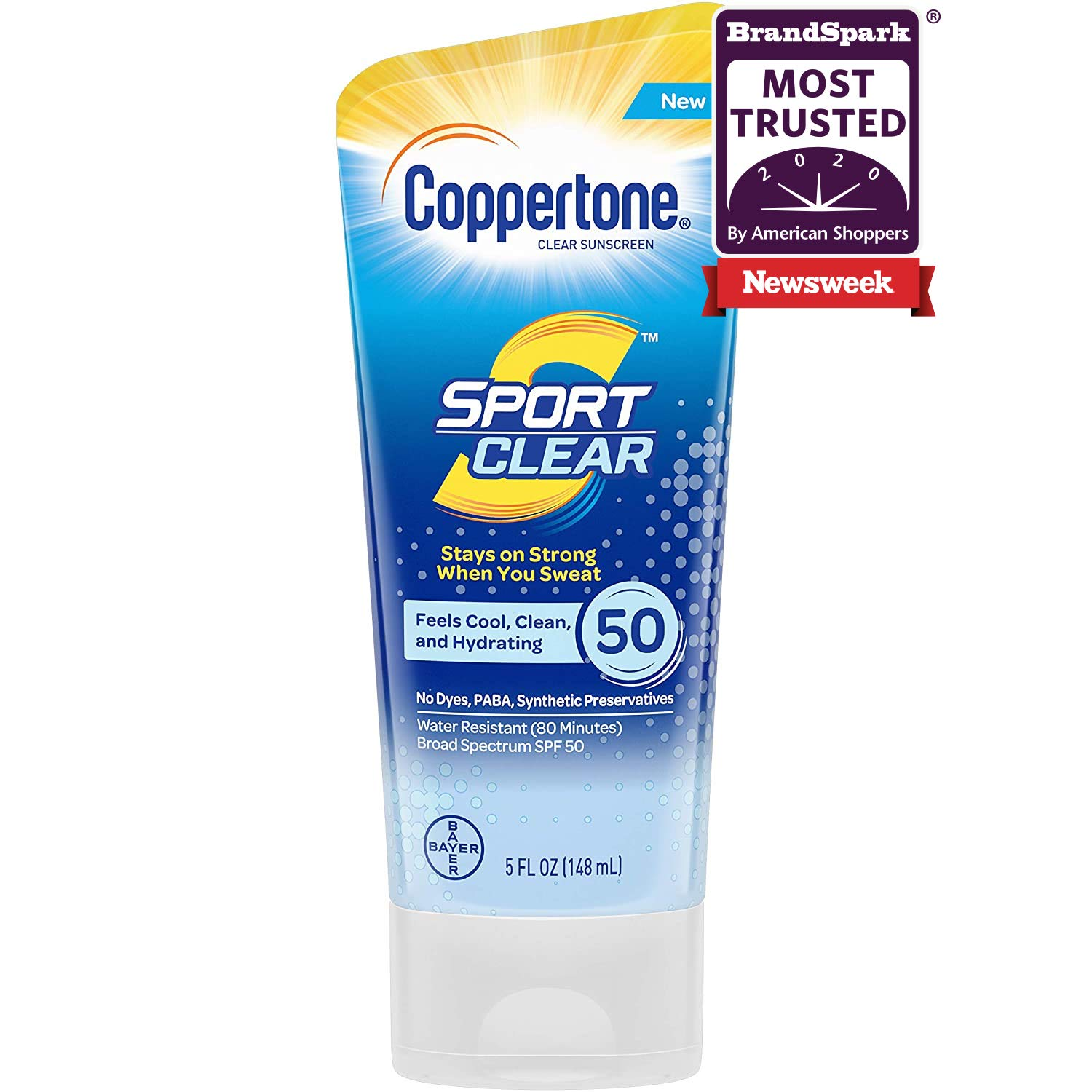 Coppertone Sport Clear SPF 50 Sunscreen Lotion, Water Resistant, Non-Greasy, Broad Spectrum UVA/UVB Protection, Clean, Cool, White, 5 Ounce