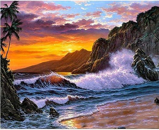Bricolaje Pintura Digital Por Números Paquete Olas del Mar Pintura ...