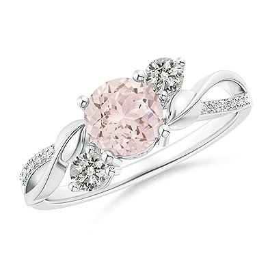 Angara Morganite and Diamond Twisted Vine Ring r9lvzmfQ