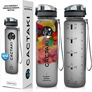 Cactaki Water Bottle with Time Marker, Large BPA Free Water Bottle, Non-Toxic, 1 Liter 32 Oz, for Fitness and Outdoor Enthusiasts, Leakproof and Durable