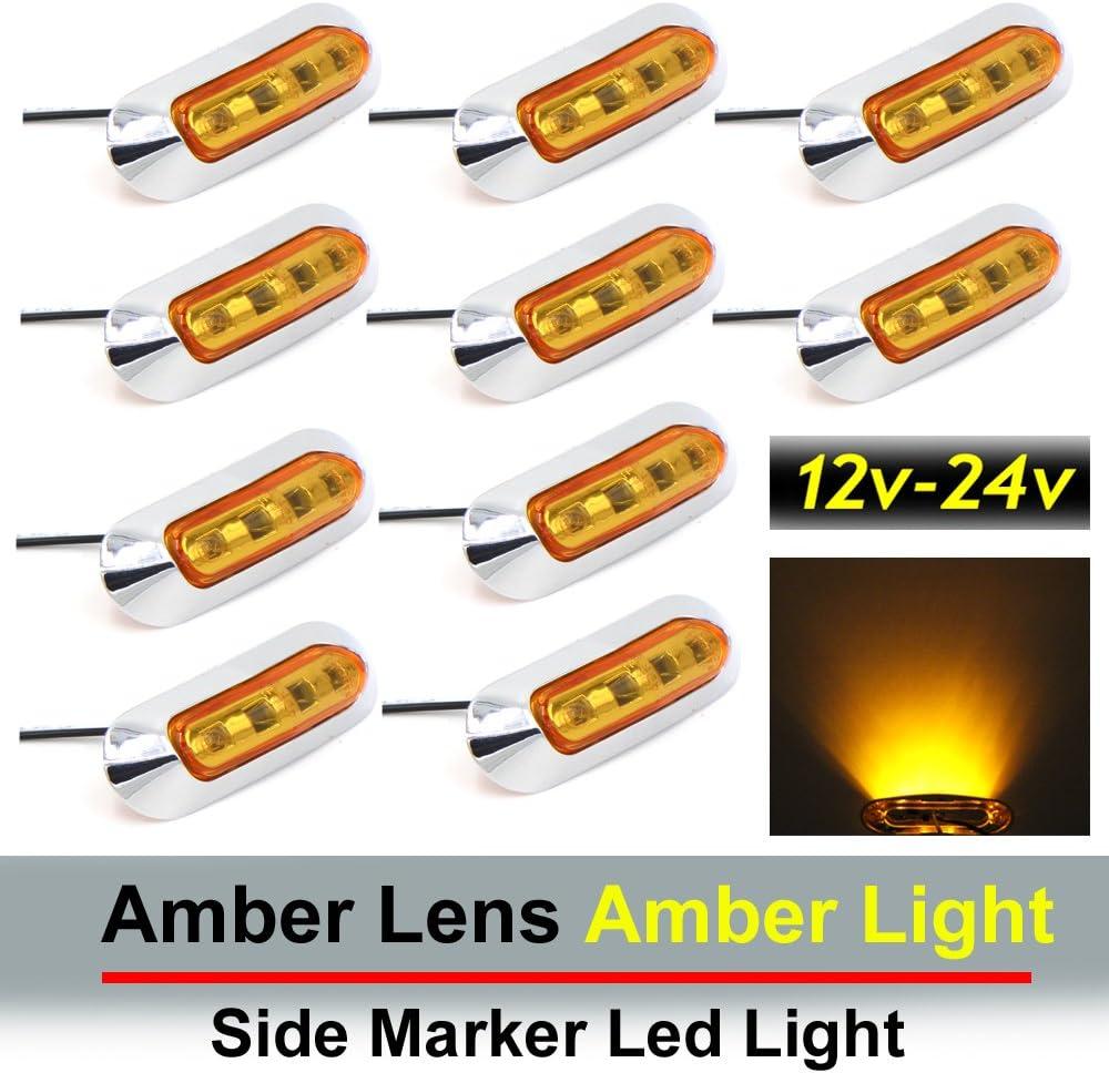Rear Side Marker Light Marker Light Amber TMH 10 pcs 3.6 Inch Submersible 4 LED Smoked Lens Amber Light Side Led Marker 10-30v DC Truck Trailer Marker Lights Boat Cab RV