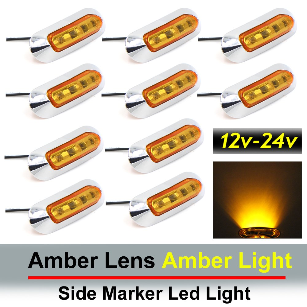 10-30v DC Rear side marker light 10 pcs TMH 3.6 submersible 4 LED Red /& Amber Side Led Marker 5 + 5 Truck Trailer marker lights Boat Cab RV Marker light amber