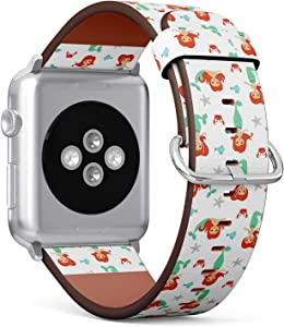 Compatible with Apple iWatch Series 1/2/3/4 (38mm & 40mm), Replacement Leather Bracelet Wristband Strap [ Cute Cartoon Little Mermaid Girls ]