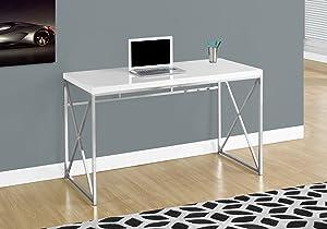 "Monarch Specialties Computer Desk - Contemporary Home & Office Desk - Scratch-Resistant - 48"" L (White)"