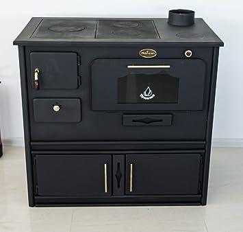 Estufa de leña con horno y cocinilla de hierro fundido Praktik, de Prometey. 8 kW: Amazon.es: Bricolaje y herramientas