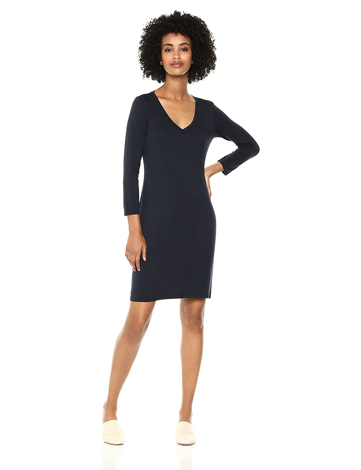 Daily Ritual Womens Standard Jersey 3/4-sleeve V-Neck T-Shirt Dress DRSB1004