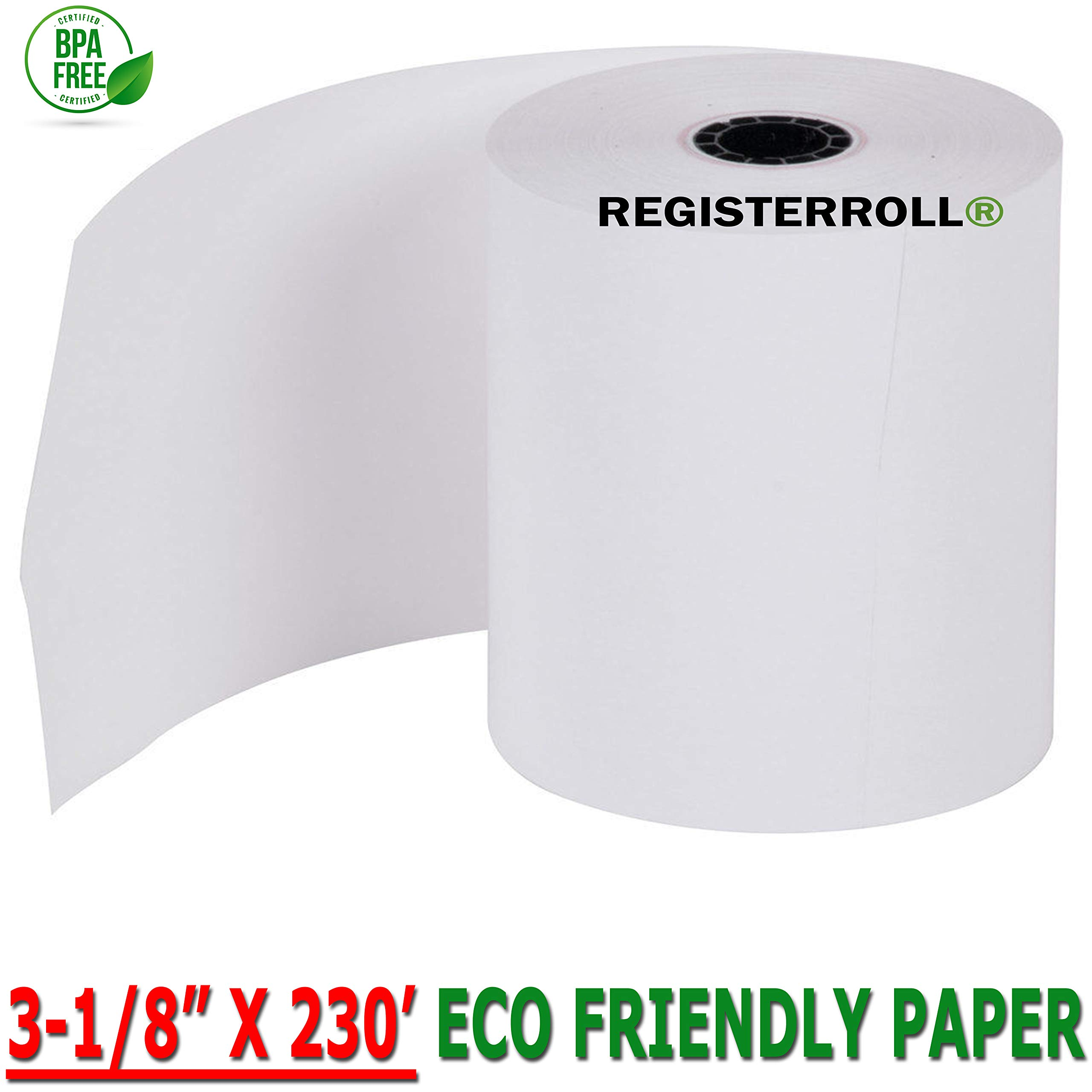 REGISTERROLL - Clover Thermal Station Printer P100 Thermal 3 1/8 Inch x 230' Paper 50 Rolls BPA Free Made in USA