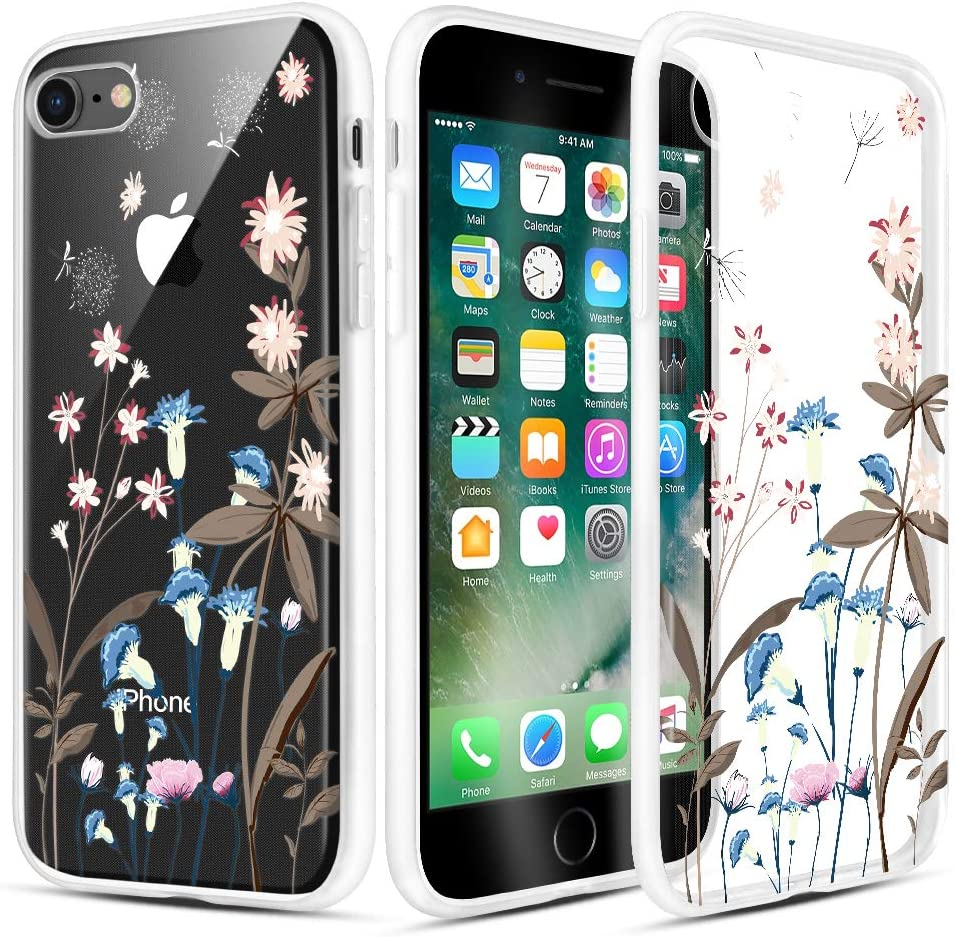 Caka iPhone 7 iPhone 8 Case Clear with Design Floral Clear Flowers Pattern for Girls Women Girly Slim Soft TPU Protective Case for iPhone 7 8 4.7''(Blue Pink)