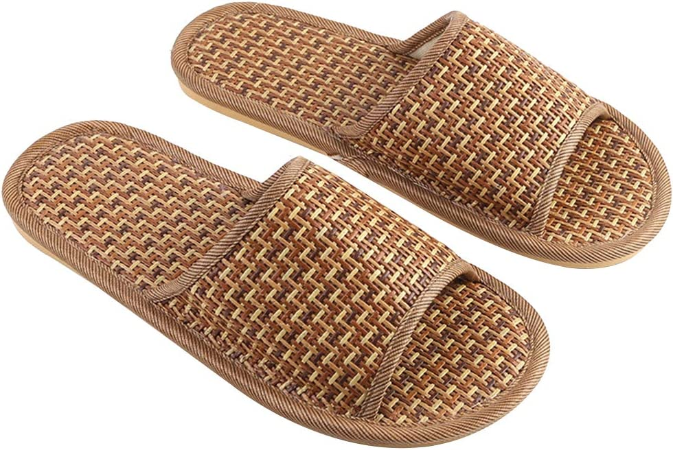 FENICAL Straw Slippers Anti-Slip Rattan Flip Flop Summer Sandal Wood Floor Slippers for Adults 27cm/10.6inches 9-10