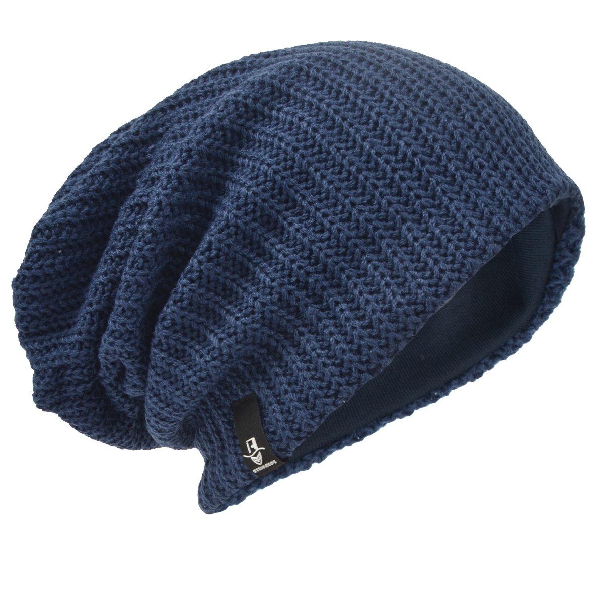 Men Oversize Skull Slouch Beanie Large Skullcap Knit Hat 3D-B5001-AGreen