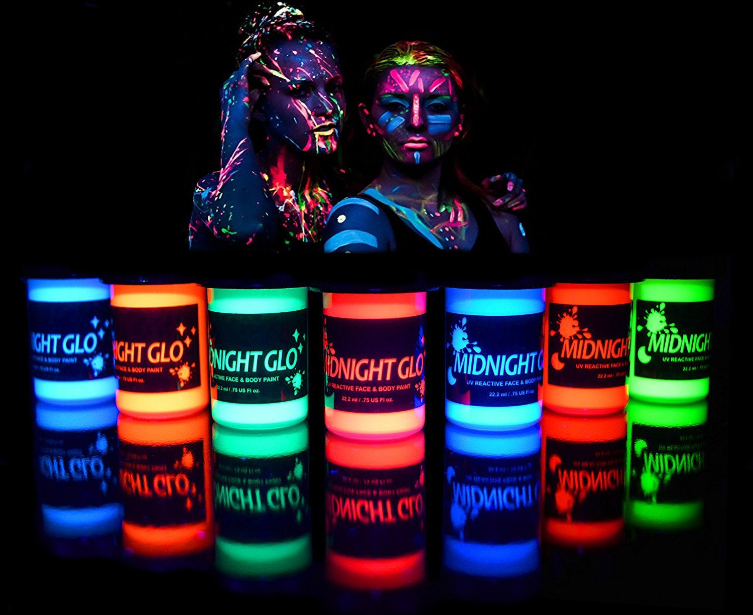 UV Neon Face & Body Paint Glow Kit (7 Bottles.75 oz. Each) - Top Rated Blacklight Reactive Fluorescent Paint - Safe Washable Non-Toxic By Midnight Glo