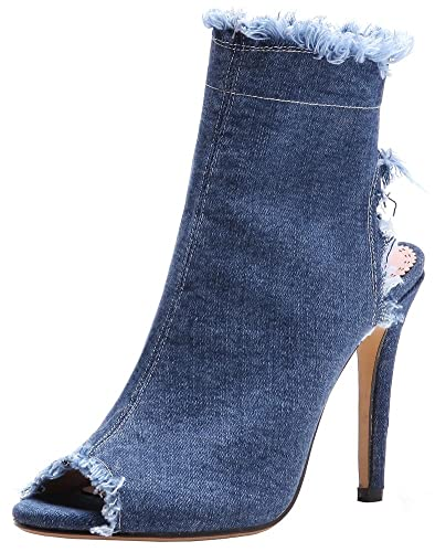 Women's Peep Toe Sandals - Stylish Side Zipper Cut Out Ankle Booties - Frayed Denim Stiletto High Heels Shoes