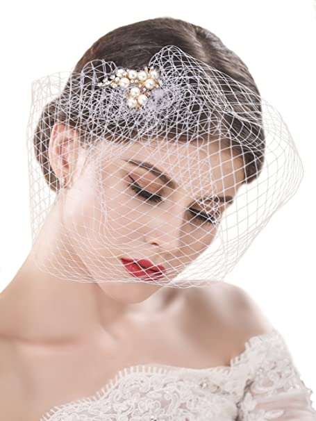Yean Bride Wedding Veil White Flower Pearl Bridal Birdcage With Comb Fascinator Hair Accessories For Women And Girls