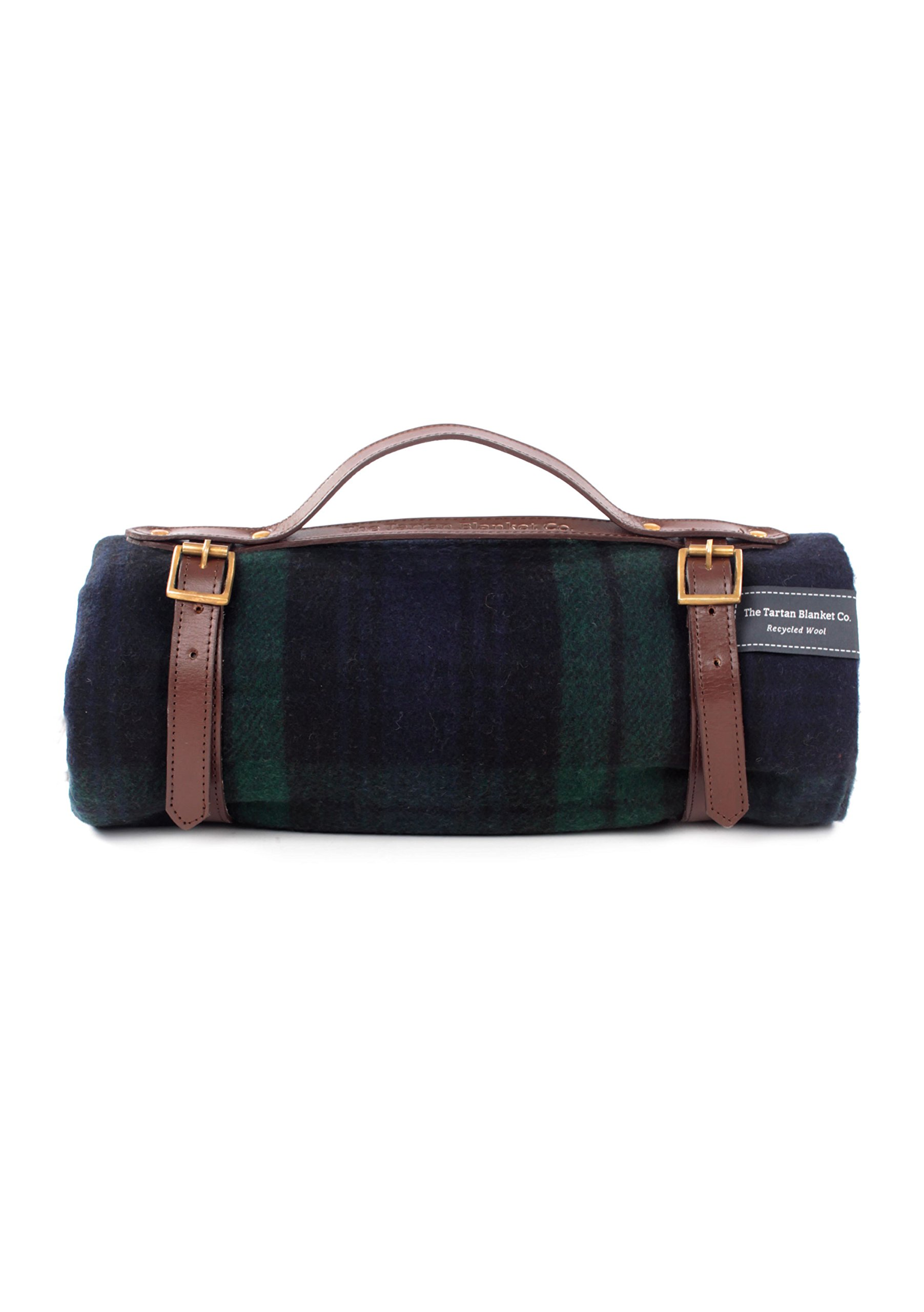 The Tartan Blanket Co. Recycled Wool Picnic Blanket with Brown Leather Strap (Black Watch) by The Tartan Blanket Co.
