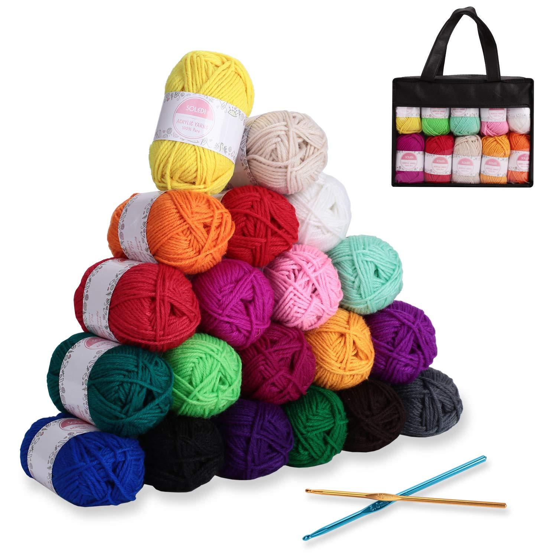 perfecto para DIY y tejer a mano con gratis ganchillo y bolsa de almacenamiento Hilo Acr/ílico SOLEDI Ovillos de Lanas de Hilo lana pr/émium Hilados Madejas 50 g * 12 colores