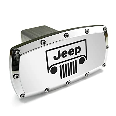 Jeep Grille Logo Billet Aluminum Tow Hitch Cover: Automotive