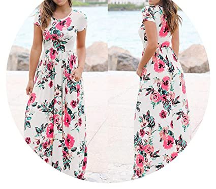 c4022b89f4f4b Image Unavailable. Image not available for. Color: Summer Long Dress Floral  Print Boho Beach ...