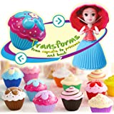 Vndaxau 2pcs Cupcake Surprise Scented Princess Doll,Reversible Cake Transform To Mini Princess Doll