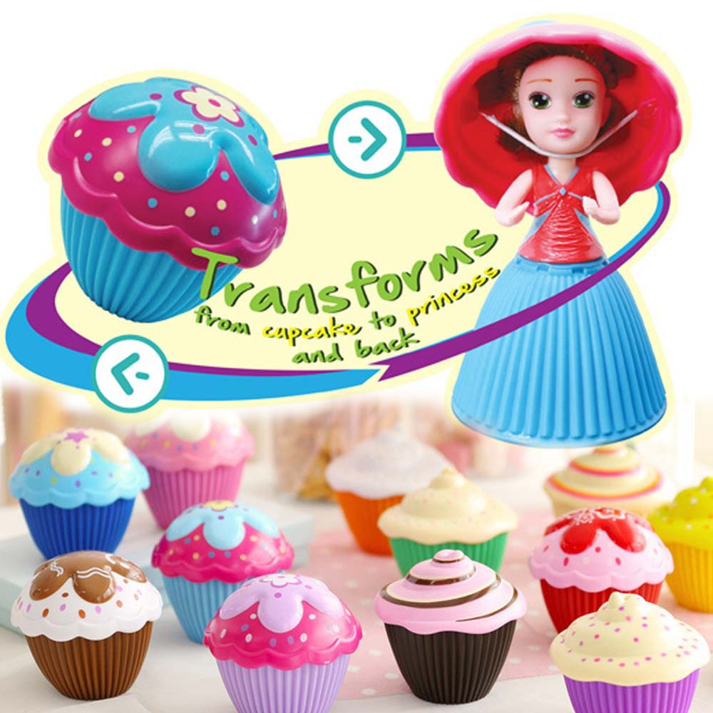 Vndaxau 2 Pack Cupcake Surprise Scented Princess Doll,Reversible Cake Transform to Mini Princess Doll