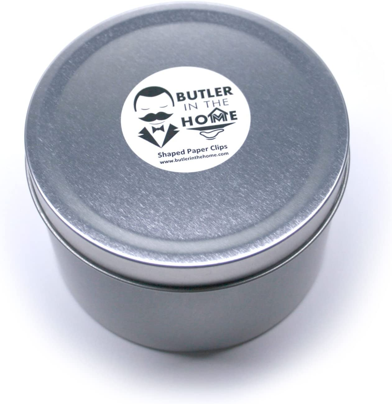 Comes in Round Tin with Lid and Gift Box White Butler in the Home 100 Count Cloud Shaped Paper Clips Great for Paper Clip Collectors or Office Gift