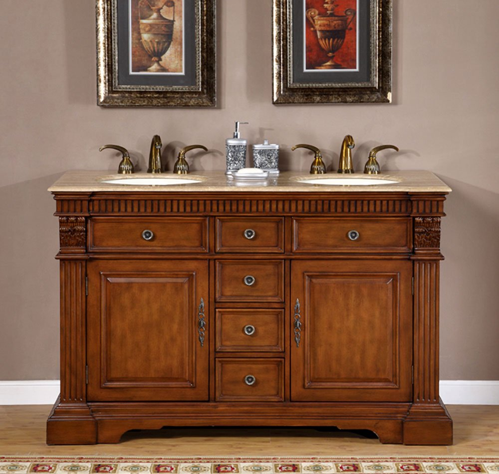 Silkroad Exclusive LTP-0181-T-UIC-55 Travertine Stone Top Dual Sink Bathroom Vanity with Double Cabinet, 55 , Medium Wood