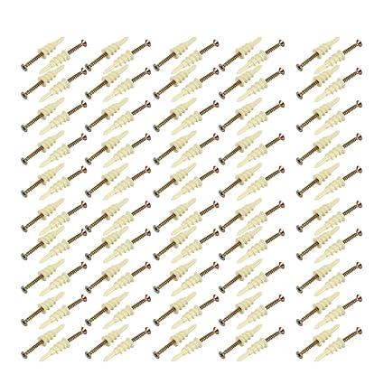 sourcing map 100 piezas Taquete tornillo de anclaje para panel de yeso 40mmx5mm Juegos galvanizado Tornillo