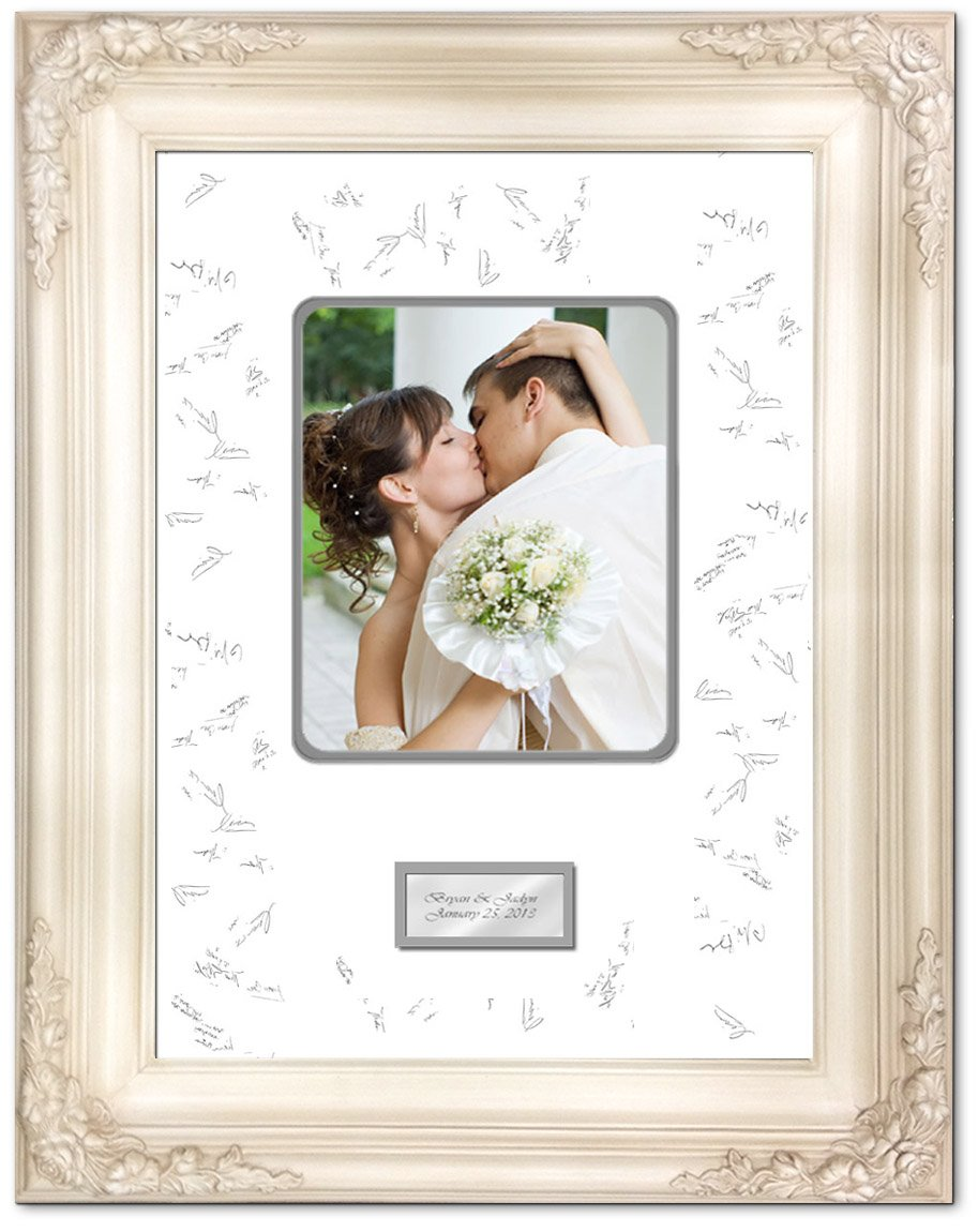 20 x 24 Wedding Anniversary Picture Frame with Two Handmade Ribbon Pens - Elite Off White Milan Raised 3D Floral Signature Photo Wood Frame - optional use as Guest Book Frame with Round Corner 8W x 10H Portrait Photo - Top mat White Inner mat Gray - Perso by FA Signature Picture Frame Company (Image #2)