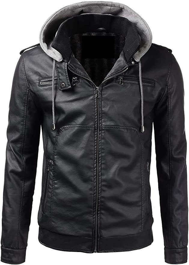 X RAY Mens Faux Leather Jacket with Removable Hood PU Leather Motorcycle Bomber Jacket for Men