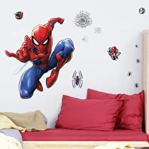 RoomMates Spider-Man Peel and Stick Wall Decals,Blue, Red, Black