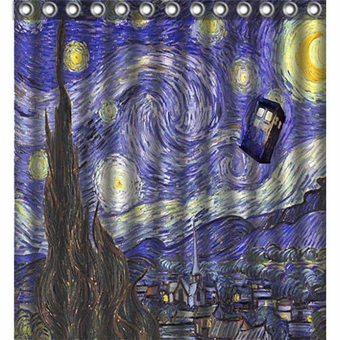 Urzel Custom Starry Night Police Box Doctor Tardis Bathroom Shower Curtain 66quot X 72quot