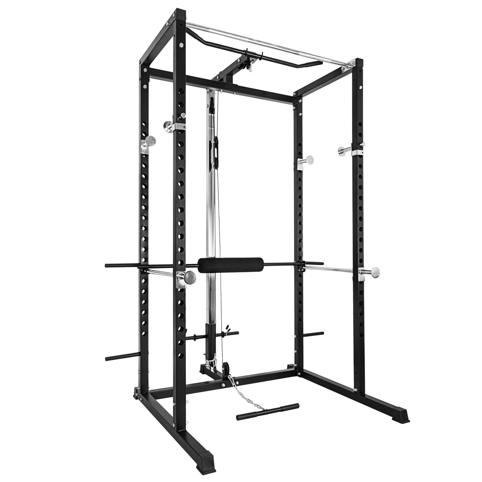 Popsport BD-7 Power Rack with LAT Pull Attachment Power Rack Olympic Squat Cage Solid Steel Construction Power Cage (BD-7) by Popsport