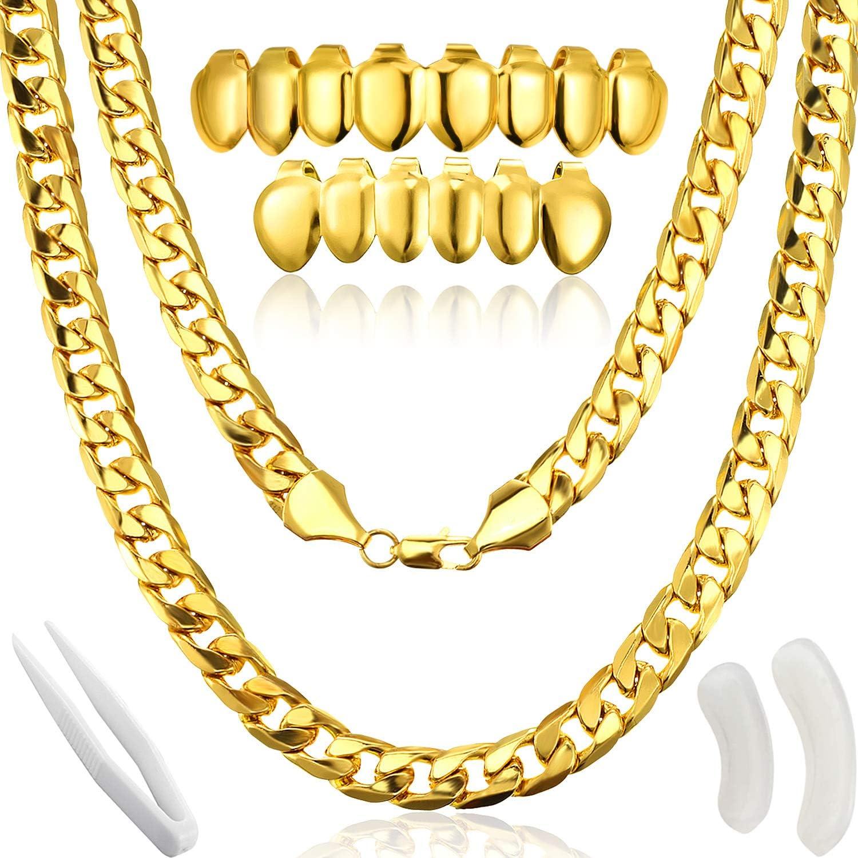 Disfraz de Rapero de Hip Hop, Collar de Cadena de Oro Falso Collar ...