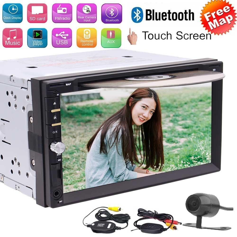 無料の無線リバースカメラ!!付属のGPSナビゲーション+ 8ギガバイトのSDカード(ノー地図)とのBluetooth / DVD /ラジオ/ USB / TF / AUX / SWC 6.95インチのHDタッチスクリーンの新UIのWin CEオペレーションシステムautoadioダブル2ディンカーCD DVDステレオ B07BWD8X3V