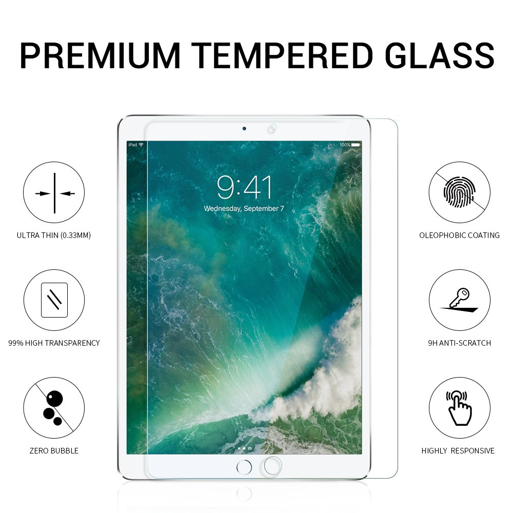 EyeO2 Screen Protector for 9.7 Inch iPad Air/ iPad Air 2/ iPad Pro/ 2018 New iPad 9H Hardness Anti-Scratch Tempered Glass for iPad Screen Guard Film, Shatter-Proof Ultra Slim Edge to Edge Protection