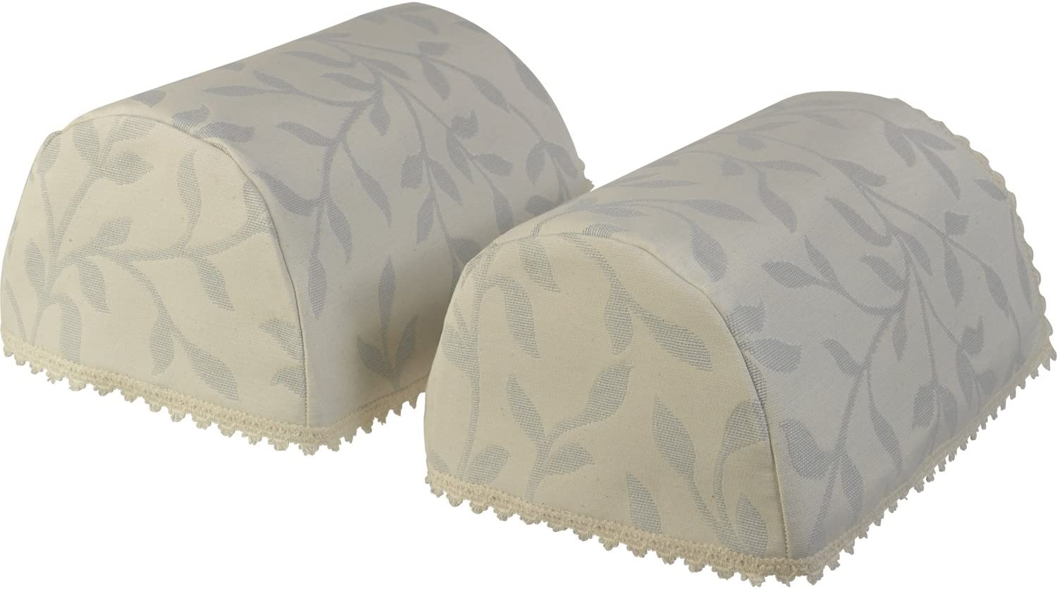 Classic Home Store Decorative Pair of Standard Round Arm Caps Floral Leaf Pattern Furniture Cover (Grey)
