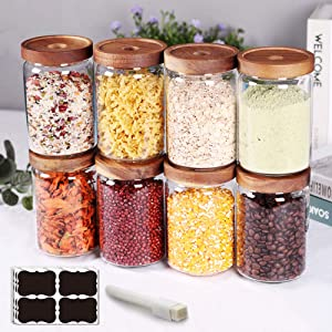 SAIOOL Stackable Kitchen Canisters Set of 8,High Borosilicate Glass Cylinder Airtight Food Storage,Durable and sort out the tea, flour, candies, grain easily and clearly