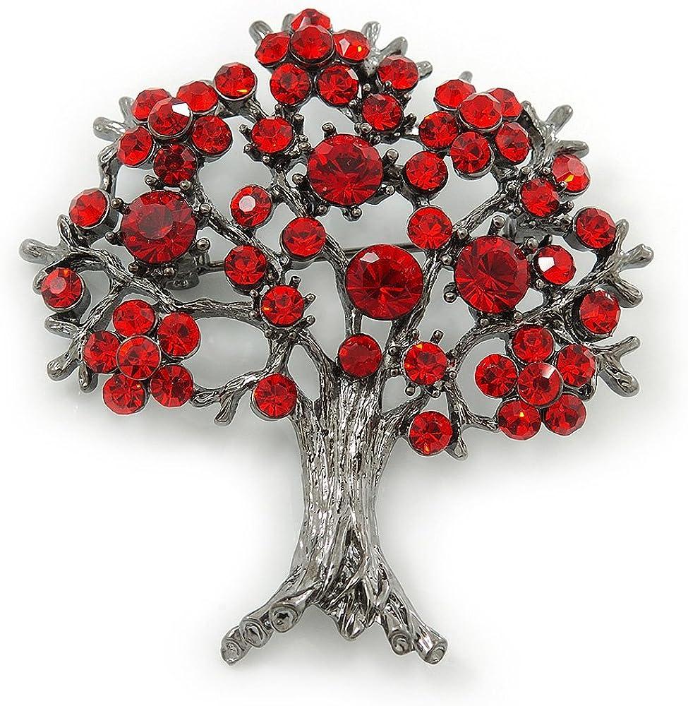 Rouge Siam cristal-Tree Of LifeBroche Finition en bronze-Longueur 52 mm
