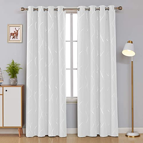 Deconovo Wave Printed Thermal Insulated Blackout Curtains Room Darkening Energy Efficient Panel Grommet Drapes