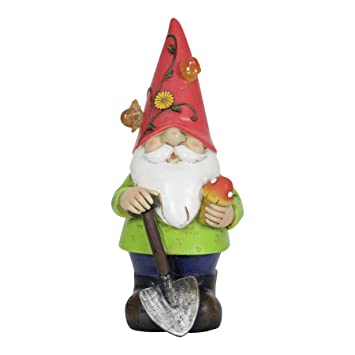Exhart Solar Light Up Gnome Garden Statue By, Solar Powered, Resin, Red Hat