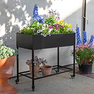 Barton Outdoor Raised Planter Box with Legs Elevated Garden Bed On Wheels for Vegetables Flower Herb Patio, Black