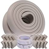 Baby Proofing Corner Guards with Eight Corners and Four Meters Edges, Non-Toxic, Soft with Thick Foam (Grey)