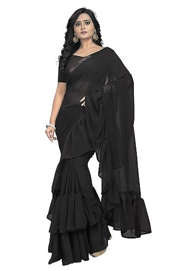 09364829038715 Jaanvi Fashion Women s Ruffle Georgette Saree (frill-saree-ruffle-blacK)