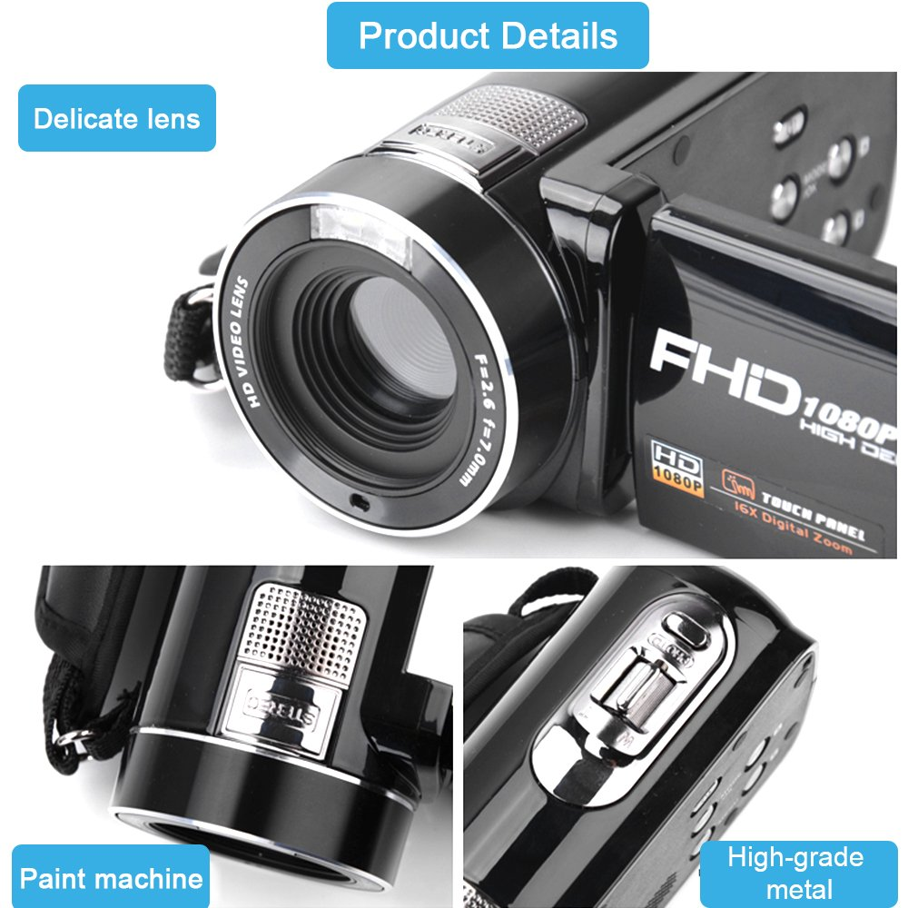 Camera Camcorder with IR Night Vision, Weton 3.0 inch LCD Touch Screen Digital Video Camera Full HD 1080p 24.0MP Pixels 18x Digital Zoom Mini DV with Remote Control (Two Batteries included) by Weton (Image #7)