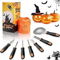 Fxexblin Halloween Pumpkin Carving Kit with Storage Bucket, Professional a Heavy Duty Stainless Steel Tools,Pumpkin…