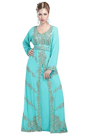 Top Selling Party Wear Dubai Caftan With Simple Hand Made Embroidery
